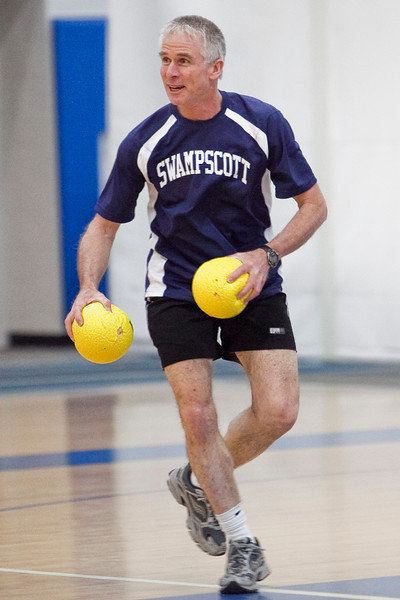 Andrew Dart stays alive during the dodgeball tournament at Swampscott High School on Wednesday, April 4. Item Photo / Angela Owens.