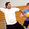 Steve Dembowski and Scott Moore whip bright yellow balls at their opponents during the dodgeball tournament at Swampscott High School on Wednesday, April 4. Item Photo / Angela Owens.