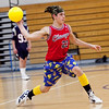 Steven Scaglione, 17, hurls a ball during the dodgeball tournament at Swampscott High School on Wednesday, April 4. Item Photo / Angela Owens.