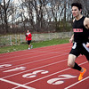 Marblehead's Koby Michaels crosses the finish line during the track meet against Saugus on Wednesday, April 4. Item Photo / Angela Owens.
