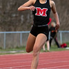 Marblehead's Janaya Randall crosses the finish line during the track meet against Saugus on Wednesday, April 4. Item Photo / Angela Owens.