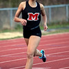 Marblehead's Janaya Randall runs the one-mile during the track meet against Saugus on Wednesday, April 4. Item Photo / Angela Owens.