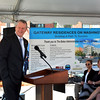 Lynn, Washington Street. Governor Charlie Baker announces $100 Million MassHousing Fund for Creation of Workforce Housing.<br /> Here he kids with Chrystal Kornegay, Undersecretary of Housing.