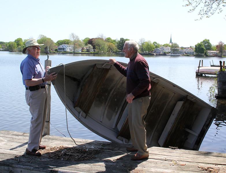 James Starratt, left, and Ernie Carpenter on Flax Pond. Photo by Owen O'Rourke