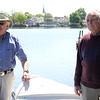 James Starratt, left, and Ernie Carpenter on a dock on Flax Pond. Photo by Owen O'Rourke