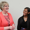 Linda Galligani, nurse practioner, left, and Harena Gebreyesus, pre-med student nutrition major. Photo by Owen O'Rourke