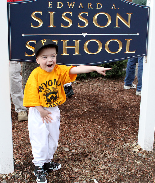Riley Feilteau is excited about the Wyoma Little League Opening day parade on Saturday. He plays T-ball with the Pirates. Photo by Owen O'Rourke