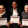 This year's three scholarship winners in the Lynn Catholic Schools Partnership from left to right are: Alexis Schumann, St. Pius V 2014, Marnelle Garraud, Sacred Heart 2014, and Samantha Saunders, St. Mary's 2018. Photo by Owen O'Rourke
