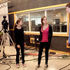 Kiely Quinn, 15 Ashling Quinn, 17, and Chris Thomsen, 18, stand in the studio as they prepare for the TV production class annual auction at Swampscott High School on Tuesday, May 6. Item Photo / Angela Owens.