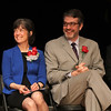 Jane Mosakowski, left, and Michael Reardon,Catholic Schools Foundation,right, at the assembly announcing the partnership of Caholic Schools held at the Lynn City Hall auditorium today. Photo by Owen O'Rourke