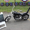 The Gold Star Bike parked outside the Wall That Heals that is now on display through Sunday at the Bennington VFW Post 6712 in Revere.  Photo by Owen O'Rourke
