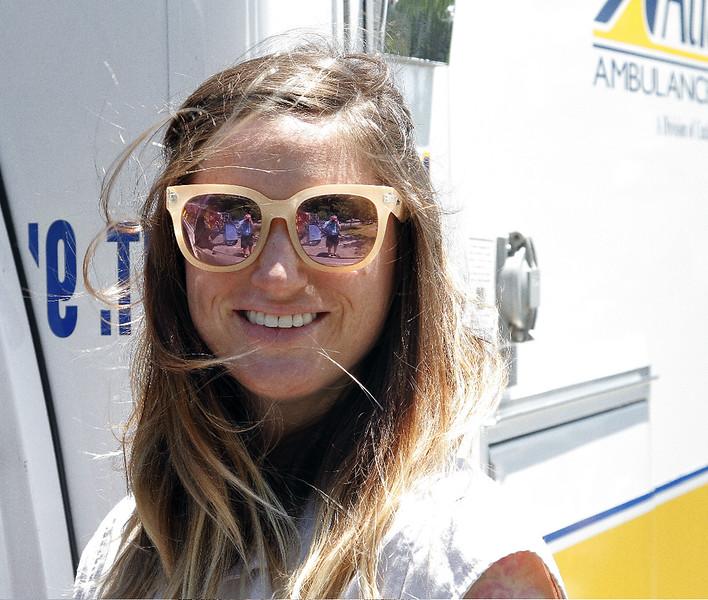 Jamie McGeown takes a break outside the Atlantic Ambulance.