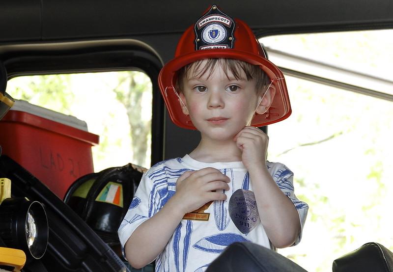 Malcolm Ankiewicz from Lynn gets a look inside a fire engine.