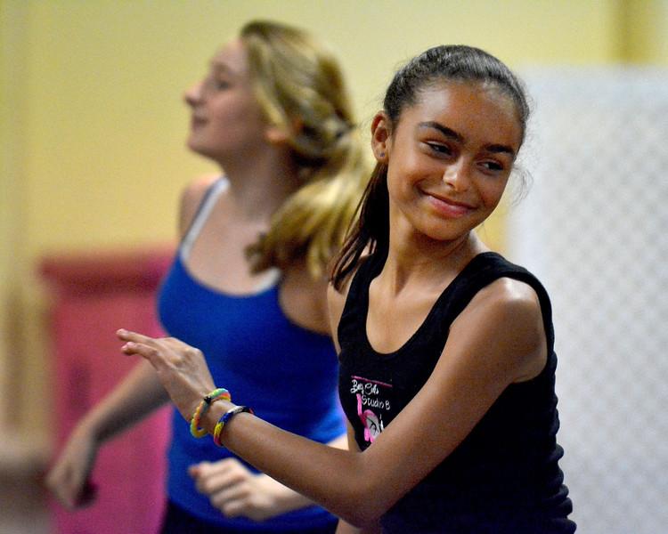 6-16-16 Lynn. Company B Dance out of Betty Card's Studio B at St. Mary's Church Hall.  Rehearsal for Saturday's performance at Lynn City Hall at 5:00pm.  Aniya Wilhelmsen (foregrd) and Julia Iorio, Lynn, reheasing.