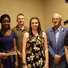 The Lynn Rotary presented scholarships to students from each of the Lynn high schools today at the Porthole Restaurant. From left to right: Dr. Ray Bastarache, Sarah Kuyateh, Patrick Morin-Plante, Heather Cummings, Bob Dugas, co-chair of scholarships at Lynn Rotary, and Vanessa Cabrera. Photo by Owen O'Rourke