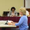 Lynn. School Administration Building. Open Hearing on Gordon College reinstatement.<br /> Pricilla Nelson, Lynn, speaks in favor of Gordon College being reinstated