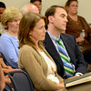 Lynn. School Administration Building. Open Hearing on Gordon College reinstatement.<br /> President of Gordon College Michael Lindsay and Vice President of Student Affairs Jennifer Jukanovich listen to arguements against reinstating the college.