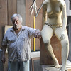 Ninety-four year old sculptor Reno Pisano in his studio in Nahant. Photo by Owen O'Rourke