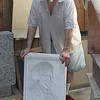 Ninety-four year oldl Nahant sculptor Reno Pisano in his studio in Nahant with the mold for Frederick Douglas. Photo by Owen O'Rourke