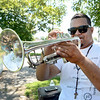 Lynn. Frey Field on Walnut Street.  Zoilo Ramirez, whose stage name is Chu Trompeta, practicing on Saturday morning.<br /> He practices outside when he can because the sound is better outside.