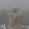 """The sand sculpter """"Imprinted"""" by Sue McGrew shrouded in fog on Revere Beach today. Photo by Owen O'Rourke"""