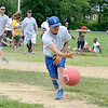 Lynn, Barry Park. Kickball games.  A series of kickball games, this one is Kaat Services vs Sin City Warriors.<br /> Lenny Ryan of Lynn was the pitcher for Kaat Services team.