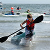 Nahant.  Short Beach.<br /> The winner of the kayak race comes in, Cole Hamernick, Nahant.