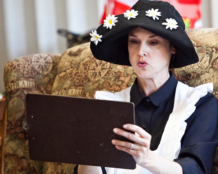 Actress Carole Finn-Weidman plays Amelia Bedelia at the Swampscott Public Library on Thursday, August 9. Item Photo / Angela Owens.