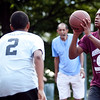 Abraham Diaz (2) guards Anthony Silfa (6) at the Lynn Parks and Rec middle school basketball championships at Marian Gardens on Thursday, August 9. Item Photo / Angela Owens.