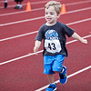 Max Bourgeois, 3, competes in one of the races during the kids track event at Manning Field on Tuesday, August 12. Item Photo / Angela Owens.