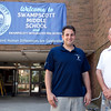 Vice Principal Jason Calichman, left, and Principal Robert Murphy pose for a photo outside Swampscott Middle School on Thursday, August 16. Item Photo / Angela Owens.
