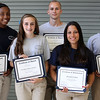 Lynn Police Student Academy members who got special recognition during their graduation cremonies at Lynn English High School on Thursday, August 16 are from left to right: Diondra Woumn, Sarah Barnard, Travis Fleuriel, Elizabeth Castro and Justin Kim. Photo by Owen O'Rourke