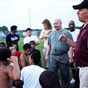 Coach David Ball talks to the players at the end of the first East Lynn Pop Warner football practice of the year, at Lynn English High School on Wednesday, August 1. Item Photo / Angela Owens.