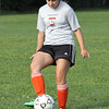Briana Silva during drills at soccer practice at Lynn Classical High School on Saturday. Photo by Owen O'Rourke