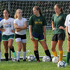 Getting instructions on the next drill at soccer practice at Lynn Classical High School on Saturday. Photo by Owen O'Rourke