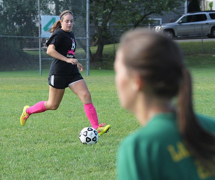 Taylor Ferraro during soccer practice at Lynn Classical High School on Saturday. Photo by Owen O'Rourke