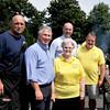8/25/12.  Lynn. Cuffe-McGinn Funeral Home. Police/Fire Dept BBQ<br /> lft to rt: Bob Lehman, Lynn Fire, State Senator Thomas McGee, Sally Cuffe, Representative Bob Fennell, Tommy Newhall.  All Lynn residents.