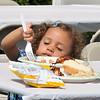 8/25/12.  Lynn. Cuffe-McGinn Funeral Home. Police/Fire Dept BBQ<br /> Ella Panacopoulos, aged 2, Lynn enjoys lunch.