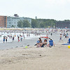 Revere. Revere Beach overview on Saturday.  Lots of sunbathers and swimmers.