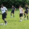 Members of the Lynn Classical High School soccer team practice at Hood Park today. Photo by Owen O'Rourke
