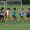 Members of the Lynn Classical High School soccer team doing indian file drills at Hood Park today. Photo by Owen O'Rourke