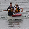 Austin Gillespie, left, and Christian Petterson, right, placed first in the sailing race on Short Beach in Nahant on Saturday. Photo by Owen O'Rourke