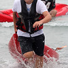 Ryan Gooding heading toward the beach and a second place finish in the kayak race on Short Beach in Nahant on Saturday. The kayak race was one of five races that culminated with the grand pram race. Photo by Owen O'Rourke