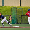 Wachusett's Davidson Peguero (44) misses the catch as the Navigators' Tony Serino (3) runs to first during the Navigators' final home game at Fraser Field on Wednesday, August 8. Item Photo / Angela Owens.