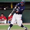 Wachusett's Davidson Peguero (44) swings during the North Shore Navigators final home game at Fraser Field on Wednesday, August 8. Item Photo / Angela Owens.