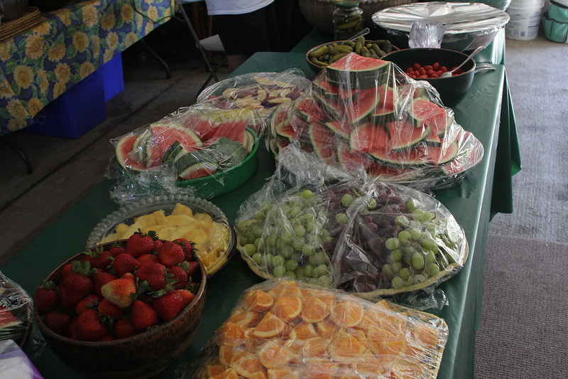 Other food were served in addition to the 250 hot dogs served, compliments of Old Neighborhood Foods, at the Girl's Inc. annual outing at Nancy Whitman's house in Nahant today. The event is sponsored by the Nahant Woman's Club. Photo by Owen O'Rourke