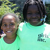 Derlin Salvador, left, and Sandra Adetola, two of the 150 girls from Girl's Inc. to attend the annual outing at Nancy Whitman's house in Nahant today. Photo by Owen O'Rourke