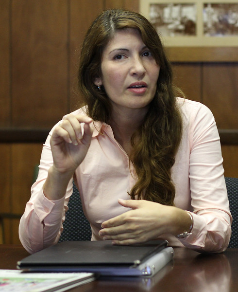Candidate for State Rep Katerina Koudanis being interviewed at the Lynn Item today. Photo by Owen O'Rourke