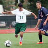 Classical's Jesus Viveros (11) and Revere's Steven Querubin (20) vie for the ball during their game at Manning Field on Tuesday, September 9. Item Photo / Angela Owens.