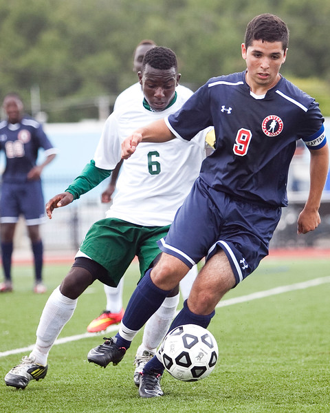 Classical's Karegya Nasibu (6) and Revere's Abel Alcantar (9) vie for the ball during their game at Manning Field on Tuesday, September 9. Item Photo / Angela Owens.